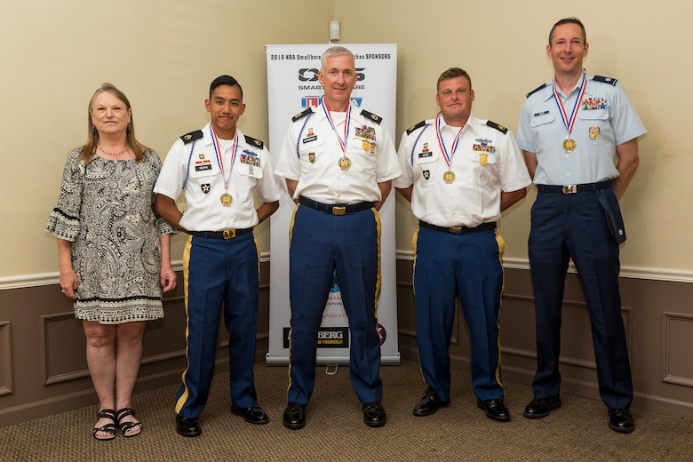 Lt. Col. Robert Davis, far right, 93d Air Ground Operations Wing director of complaints resolution, poses for a photo with other participants during the 2018 National Rifle Association (NRA) National Smallbore Rifle Championships, July 30, 2018, in Bristol, Ind. Davis, who is the captain of the Air Force International Rifle Team, won his first national championship victory in the metric prone category. Davis hopes to develop a shooting clinic to improve base defenders' marksmanship skills. (Courtesy photo)