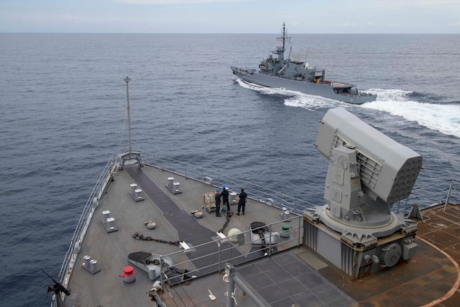 The ARC Almirante Padilla (FM-51) sails alongside the USS Gunston Hall for a replenishment at sea exercise during UNITAS 2018.