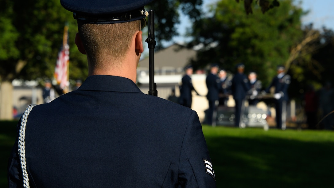 Honor guard members perform a full-honors ceremony as part of their gradaution ceremony at Hill Air Force Base, Utah, Aug. 29, 2018. Twenty Airmen from Hill, Nellis, Mountain Home and F. E. Warren Air Force Bases graduated from the honor guard course instructed by a U.S. Air Force Honor Guard Mobile Training Team. (U.S. Air Force photo by R. Nial Bradshaw)