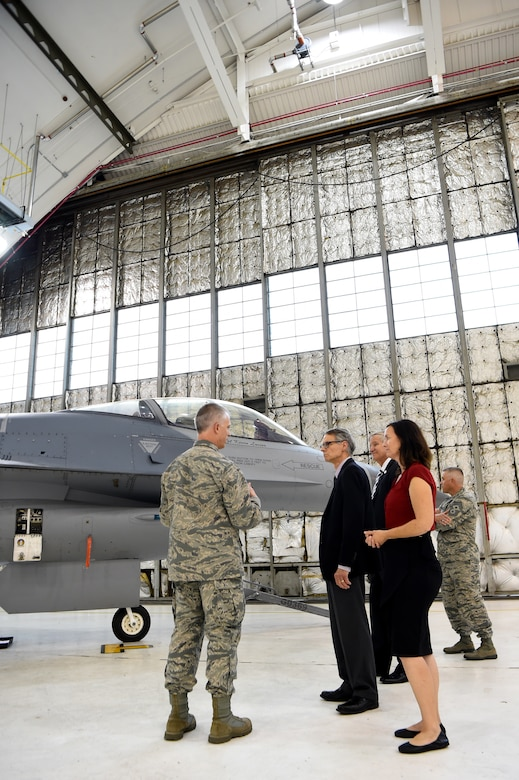 Aurora city officials tour Hangar 810, Sept. 5, 2018, on Buckley Air Force Base, Colorado. The 140th Wing is comprised of over 1400 personnel that support F-16C Air Combat Command fighter and C-21 Air Mobility Command airlift aircraft missions, as well as Space Warning Squadron Air Force Space Command and Civil Engineering Pacific Air Forces missions. (U.S. Air Force photo by Airman 1st Class Codie Collins)