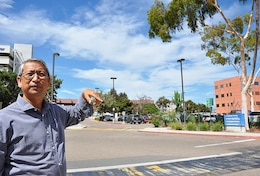 Lawrence Monsalud, a civil engineer with the U.S. Army Corps of Engineers Los Angeles District, discusses the Corps' San Diego Veterans Affairs Hospital construction project during a site visit Aug. 29 in San Diego, California.