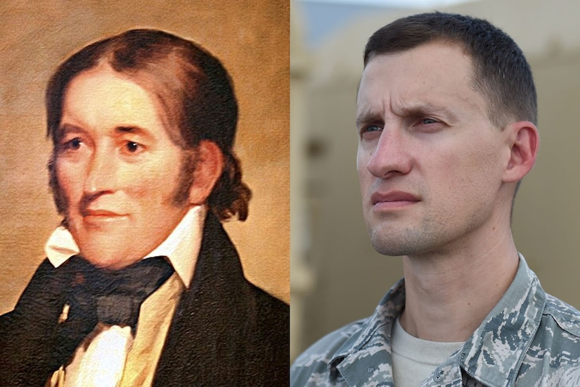 A painting of Davy Crockett on the left and a photo of an ancestor who is in the National Guard on the right.