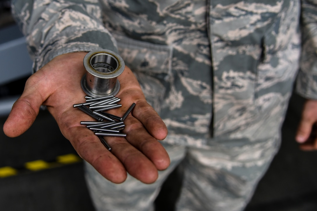 """No one in our shop has ever done this repair before,"" said Senior Airman Kaleb Lemons, 86th Maintenance Squadron repair and reclamation journeyman. ""An aircraft can typically go its entire lifespan without us replacing these parts."""