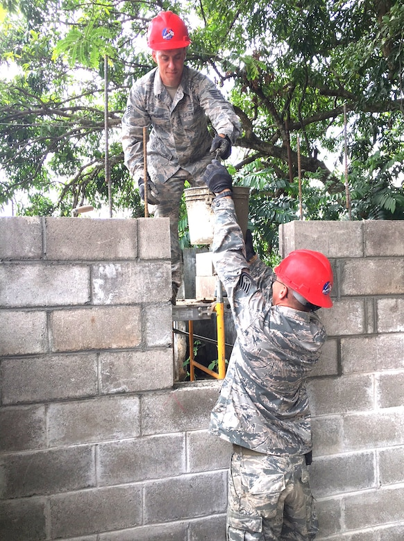 201st RED HORSE Squadron Airmen build schools from-the-ground-up June 6, 2018 in El Salvador for Beyond the Horizon. The Airmen from Fort Indiantown Gap, Pennsylvania did two-week rotations in support of the annual humanitarian/training exercise conducted by U.S. Southern Command in Latin American and Caribbean Nations. (U.S. Air National Guard Photo/Released)