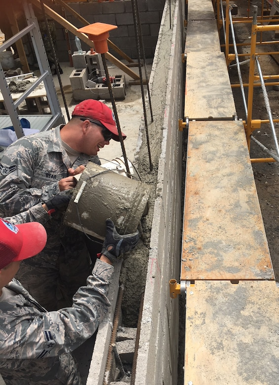 201st RED HORSE Squadron Airmen build schools from-the-ground-up June 1, 2018 in El Salvador for Beyond the Horizon. The Airmen from Fort Indiantown Gap, Pennsylvania did two-week rotations in support of the annual humanitarian/training exercise conducted by U.S. Southern Command in Latin American and Caribbean Nations. (U.S. Air National Guard Photo/Released)