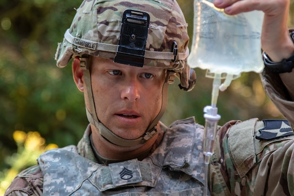 Staff Sgt. Benjamin Campbell, combat medic with 2-2 Stryker Brigade Combat Team, competes for the Regional Health Command-Pacific Best Medic competition at Joint Base Lewis-McChord, Wash., Aug. 7. The competition brought the best medics across the Pacific Region - Washington, Hawaii, Alaska, Japan and Korea.