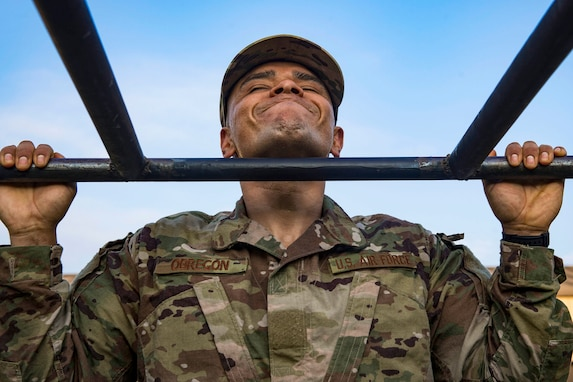 Tech. Sgt. Jose Obregon, 347th Operations Support Squadron independent duty medical technician, performs pull ups during a Pre-Ranger Assessment Course, Aug. 24, 2018, at Moody Air Force Base, Georgia. (U.S. Air Force photo by Senior Airman Greg Nash)