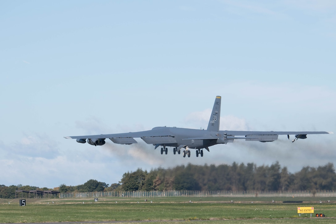 The 343rd Expeditionary Bomb Squadron launched its initial sortie for Ample Strike 18 from RAF Fairford, United Kingdom, Sept. 7, 2018.  The annual Czech- Republic-led exercise is designed to help train with Joint Terminal Air Controllers on the ground there.  Airman of the 343rd are comprised of both Citizen Reserve Airmen and active-duty personnel working within the total force enterprise model. (U.S. Air Force photo by Master Sgt. Ted Daigle)