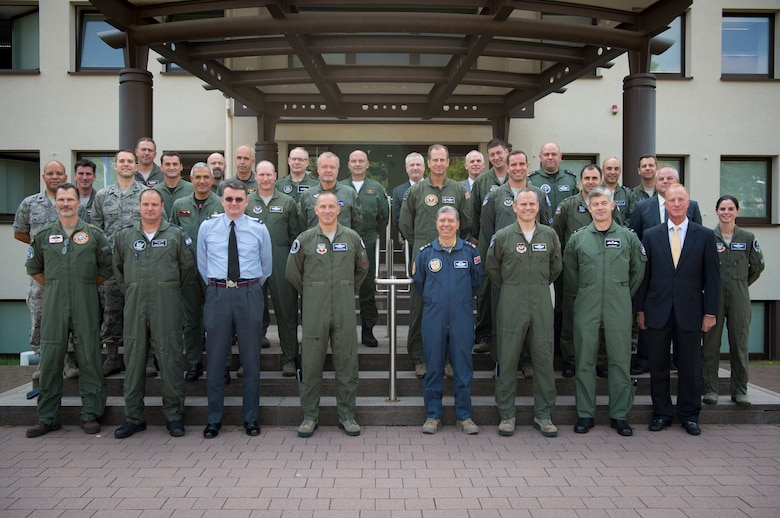 A group of general officers representing the U.S. and each of the seven European and Mediterranean nations, which will operate the F-35 lightning II aircraft pose for a photo on Ramstein, Sep. 6, 2018. The group met to discuss the F-35's implementation in Europe. Topics included establishing infrastructure, lowering procurement and maintenance costs, and basing aircraft on RAF Lakenheath, England. (U.S. Air Force photo by Senior Airman Elizabeth Baker)