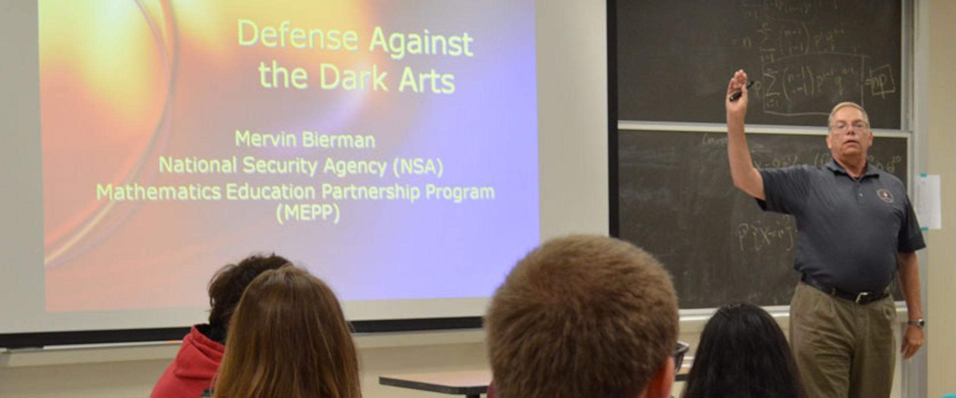 NSA employee Mervin Bierman gave a July presentation to talented high school students in a Rutgers University math program.