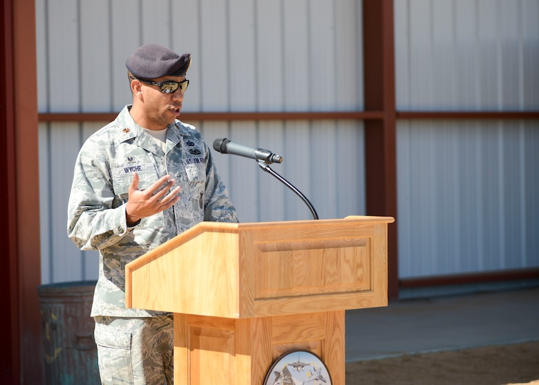 The commander of the 412th Security Forces Squadron, Maj. Gilbert Wyche, speaks about the newly-renovated Small Arms Range during a ribbon-cutting ceremony at Edwards Air Force Base, Calif., Sept. 6, 2018. (Photo by Giancarlo Casem, 412th Test Wing Public Affairs)