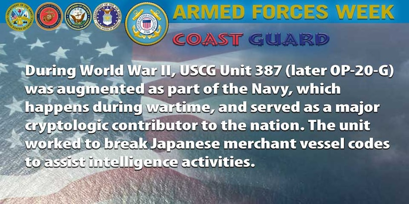 During World War II, USCG Unit 387 (later OP-20-G) was augmented as part of the Navy, which happens during wartime, and served as a major cryptologic contributor to the nation. The unit worked to break Japanese merchant vessel codes to assist intelligence activities.