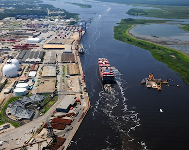 The U.S. Army Corps of Engineers Wilmington District helps keep the federal channels that lead to the Ports of Wilmington and Morehead City free of material to provide safe passage for commercial vessels. To learn more, read article in News Stories in lower right corner of this page. (NC Ports photo)