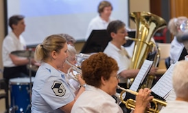 Master Sgt. Blakely Rosengaft performs with the WAF Band at the Armed Forces Retirement Home