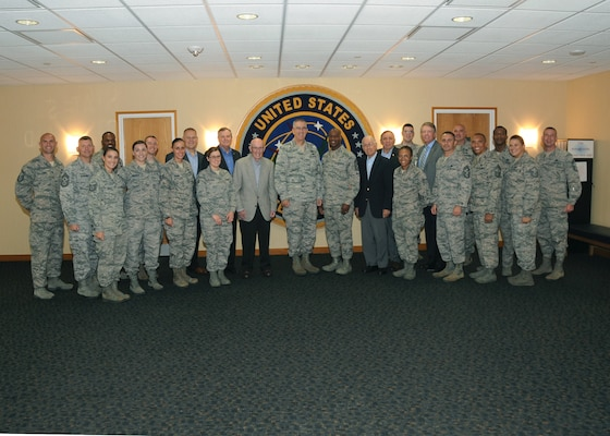 U.S. Air Force Gen. John Hyten, commander of U.S. Strategic Command (USSTRATCOM), and Chief Master Sergeant of the Air Force (CMSAF) Kaleth O. Wright welcome former CMSAFs during the 2018 Senior Enlisted Statesman Forum at USSTRATCOM headquarters on Offutt Air Force Base, Neb., Sept. 6, 2018. The two-day event allowed Air Force senior leaders to come together for frank, open discussions and decision-making about the future of the Air Force. The CMSAF represents the highest enlisted level of leadership, and as such, provides direction for the enlisted force and represents their interests, as appropriate, to the American public, and to those in all levels of government.