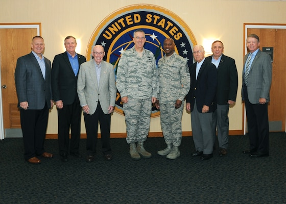 U.S. Air Force Gen. John Hyten, commander of U.S. Strategic Command (USSTRATCOM), and Chief Master Sergeant of the Air Force (CMSAF) Kaleth O. Wright welcome former CMSAFs and Air Force senior leaders during the 2018 Senior Enlisted Statesman Forum at USSTRATCOM headquarters on Offutt Air Force Base, Neb., Sept. 6, 2018. The two-day event allowed Air Force senior leaders to come together for frank, open discussions and decision-making about the future of the Air Force. The CMSAF represents the highest enlisted level of leadership, and as such, provides direction for the enlisted force and represents their interests, as appropriate, to the American public, and to those in all levels of government.