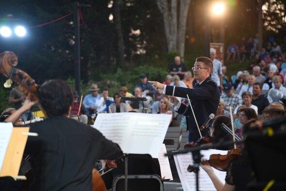 Lt. Philip Emory leads members of the U.S. Air Force Band alongside the Cape Symphony