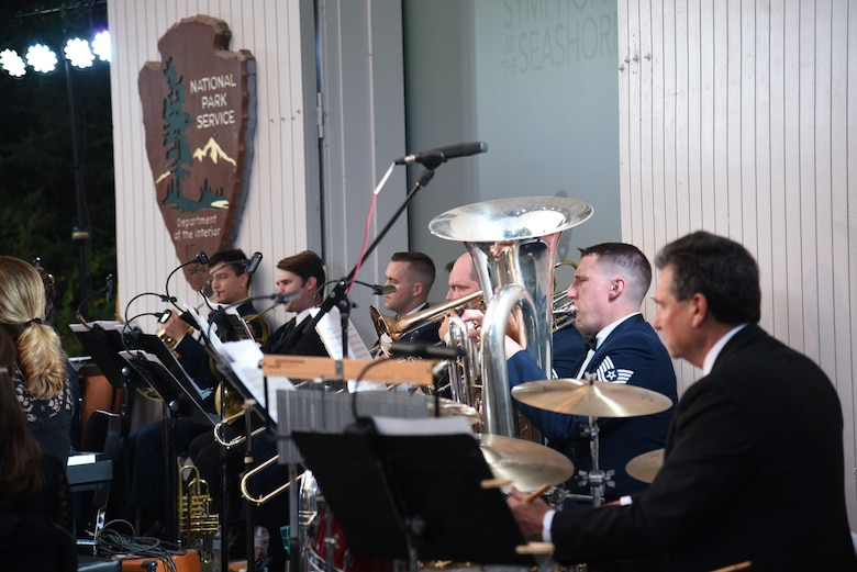 Members of the U.S. Air Force Band perform alongside members of the Cape Symphony