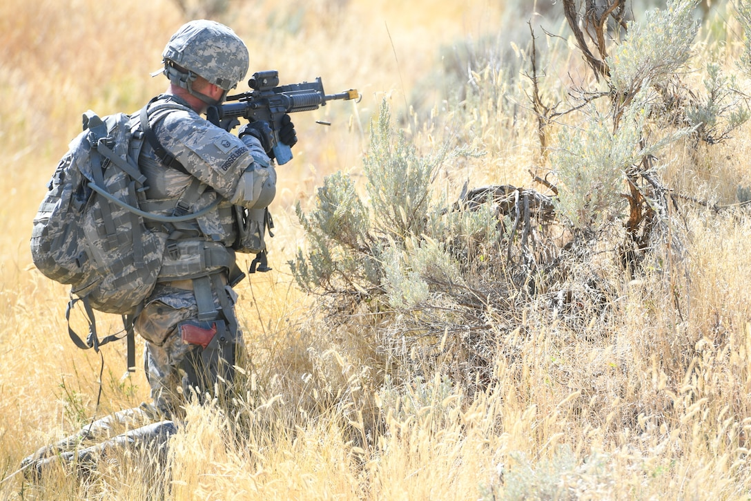 Master Sgt. Leif Gisselberg, a security forces defender from the Air Force Research Laboratory, Det. 15, Hawaii, during training patrol Sept. 7, 2018, at Hill Air Force Base, Utah. Gisselberg was one of six Airmen selected to the security forces team representing Air Force Material Command at the 2018 Defender Challenge Sept. 10-14 at Camp Bullis Military Training Reservation, near San Antonio, Texas. The team will compete against 13 other teams from other U.S. Air Force major commands, Great Britain and Germany in the first 2018 Defender Challenge since 2004.  (U.S. Air Force photo by Cynthia Griggs)