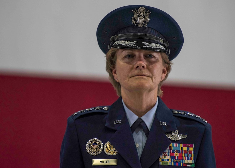 Gen. Maryanne Miller, Air Mobility Command commander, looks toward the audience after assuming command of AMC at Scott Air Force Base, Illinois, Sept. 7, 2018. Miller assumed command from Gen. Carlton D. Everhart II, who retires after 35 years of service to the Air Force. AMC provides rapid global air mobility and sustainment for America's armed forces through airlift, aerial refueling, aeromedical evacuation and mobility support. (U.S. Air Force photo by Tech. Sgt. Jodi Martinez)