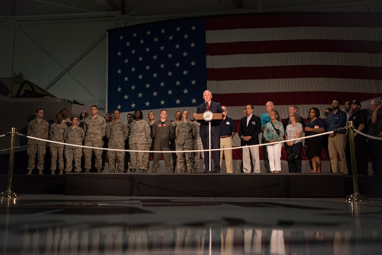 Vice President Mike Pence speaks to a crowd of Airmen and veterans at Nellis Air Force Base, Nevada, Sept. 7, 2018. Pence visited the base in January and returned for another firsthand look at the world's premier proving ground for air, space and cyberspace lethality. (U.S. Air Force photo by Airman 1st Class Andrew D. Sarver)