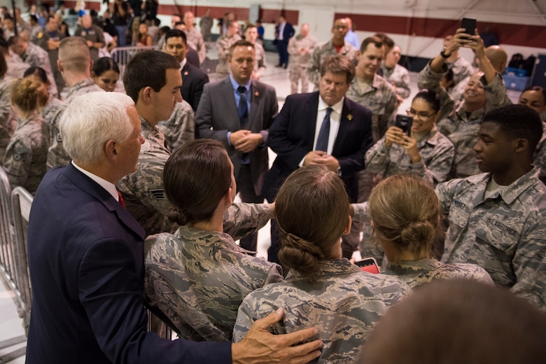 Vice President Mike Pence greets Airmen during a morale visit to Nellis Air Force Base, Nevada, Sept. 7, 2018. Pence visited the base in January and returned for another firsthand look at the world's premier proving ground for air, space and cyberspace lethality. (U.S. Air Force photo by Airman 1st Class Andrew D. Sarver)