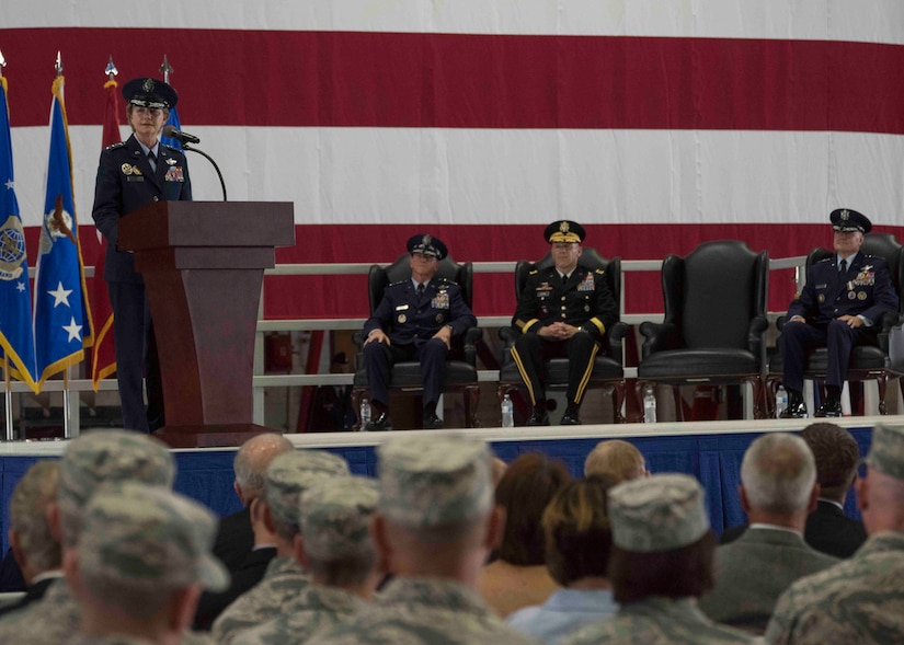 Gen. Maryanne Miller addresses mobility Airmen for the first time as Air Mobility Command commander during the change of command ceremony, Scott Air Force Base, Illinois, Sept. 7, 2018. Miller assumed command from Gen. Carlton D. Everhart II, who retires after 35 years of service to the Air Force. AMC provides rapid, global mobility and sustainment for America's armed forces through airlift, aerial refueling, aeromedical evacuation and mobility support. (U.S. Air Force photo by Tech. Sgt. Jodi Martinez)