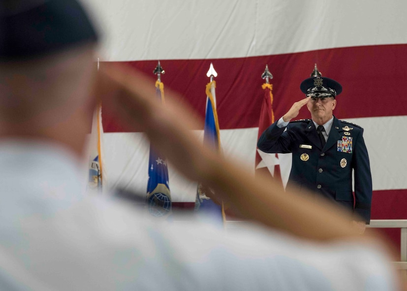 Air Force Chief of Staff Gen. David L. Goldfein salutes the formation during the Air Mobility Command change of command, Scott Air Force Base, Illinois, Sept. 7, 2018. Gen. Maryanne Miller assumed command from Gen. Carlton D. Everhart II, who retires after 35 years of service to the Air Force. AMC provides rapid, global mobility and sustainment for America's armed forces through airlift, aerial refueling, aeromedical evacuation and mobility support. (U.S. Air Force photo by Tech. Sgt. Jodi Martinez)