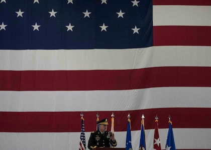U.S. Army Gen. Stephen R. Lyons, U.S. Transportation Command commander, speaks during the Air Mobility Command change of command, Scott Air Force Base, Illinois, Sept. 7, 2018. Gen. Maryanne Miller assumed command from Gen. Carlton D. Everhart II, who retires after 35 years of service to the Air Force. AMC provides rapid global air mobility and sustainment for America's armed forces through airlift, aerial refueling, aeromedical evacuation and mobility support. (U.S. Air Force photo by Tech. Sgt. Jodi Martinez)