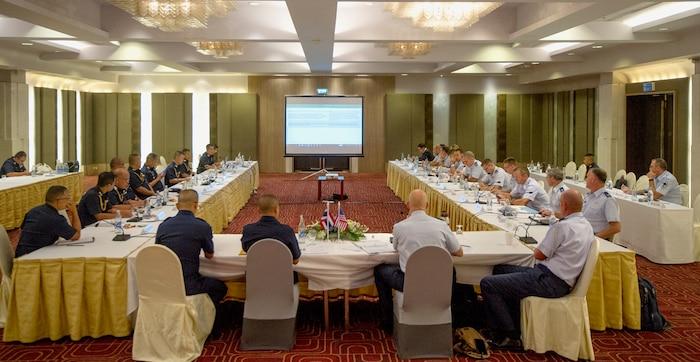 Pacific Air Forces (PACAF) and Royal Thai Air Force (RTAF) airmen participate in the fifth RTAF-PACAF Airman-to-Airman (A2A) talks in Bangkok, Thailand, Aug. 21, 2018.