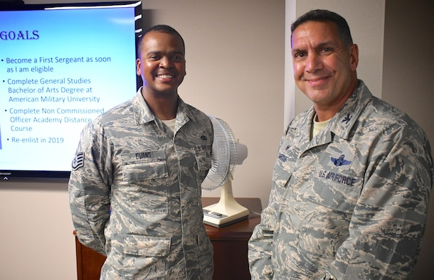 "Each month a different Airman is spotlighted within the 932nd Airlift Wing. This month the commander of the 932nd Airlift Wing, Col. Raymond Smith, right, presented a special wing coin to Staff Sgt. Brian Evans, who was spotlighted and told his background story about crossing over from the Marines to the Air Force.  He spoke to group and squadron leaders during the pre-Unit Training Assembly meeting on September 7, 2018, at Scott Air Force Base. Evans is a maintainer with the 932nd Maintenance Group's Aerospace Ground Equipment shop.   He said, ""What I like about the 932nd Airlift Wing is the professionalism and our aircraft maintenance, along with our C-40 distinguished visitor mission which is vital and helps prevent wars."" (U.S. Air Force photo by Lt. Col. Stan Paregien)"