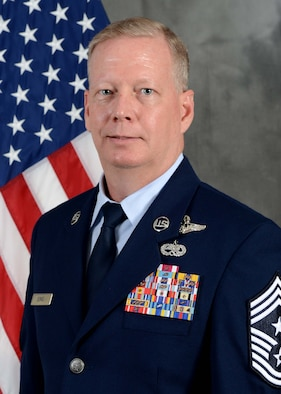 U.S Air Force Chief Master Sgt. Darren Demel poses for his official portrait at McConnell Air Force Base, Kan., April 3, 2016. Demel is slated to become command chief of the 307th Bomb Wing at Barksdale Air Force Base, La. (U.S. Air Force photo by Technical Sgt. Abigail Klein/Released)