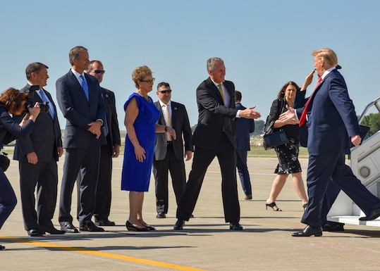 South Dakota Governor Dennis Daugaard, along with congressional delegates from the state, were on hand as Air Force One landed at Joe Foss Field, Sioux Falls, S.D. Sept. 7, 2018.  President Donald J. Trump was in the city to speak at a fundraising event for South Dakota gubernatorial candidate Kristi Noem. (U.S. Air National Guard photo by Tech. Sgt. Luke Olson/Released)