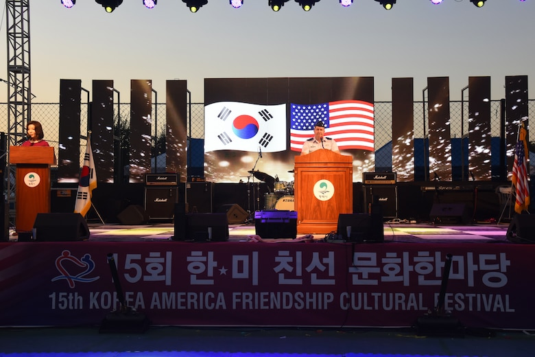 U.S. Air Force Col. William Betts, 51st Fighter Wing commander, speaks during the opening ceremony of the 15th annual Korean-American Friendship Cultural Festival at the Songtan Entertainment District, Republic of Korea, Sept. 8, 2018. As the host U.S. military commander for the event, Betts delivered a congratulatory speech to commemorate the ROK and U.S. friendship and the promise to be good neighbors. (U.S. Air Force photo by Tech Sgt. Ashley Tyler)