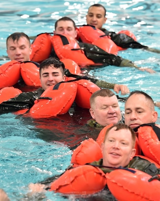 Every 36 months Airmen belonging to aircrews are required to receive refresher training so they are able to survive during emergency situations in open water.