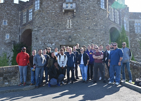 Team Mildenhall Airmen gather during a resiliency trip to Dover Castle in Dover, England, Sept. 7, 2018. The trip included a self-guided tour of the castle, along with an underground hospital and a realistic representation of Operation Dynamo. Operation Dynamo was the rescue and evacuation of 338,000 Allied troops from Dunkirk in May 1940. (U.S. Air Force photo by Senior Airman Luke Milano)