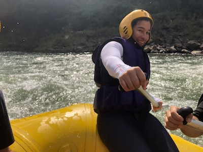 Soldier tries whitewater rafting in South Korea.