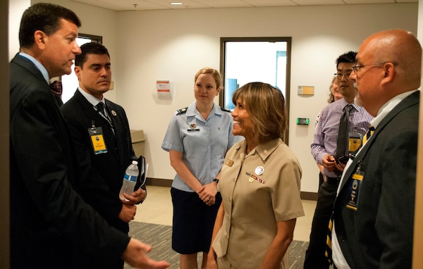 """IMAGE: KING GEORGE, Va. (Aug. 29, 2018) – James Smerchansky, Dr. Luis Rodriguez, Air Force Maj. Amanda Clark, Navy Vice Adm. Raquel Bono, Ray Cho, and John Fiore, left to right, discuss diversity at the first Leadership in a Diverse Environment Training Event hosted by Naval Surface Warfare Center Dahlgren Division (NSWCDD). Smerchansky - Naval Sea Systems Command (NAVSEA) executive director - spoke to participants about diversity and inclusion. Bono – director of the Defense Health Agency – briefed on how to """"Lead Where You Are to Inspire, Engage, and Innovate"""". Fiore - NSWCDD technical director – kicked off the two-day event with his opening remarks, and joined NSWCDD Commanding Officer Capt. Godfrey 'Gus' Weekes to encourage participants on the second day with a talk called """"Extend the Challenge"""". The training event featured a wide spectrum of presentations and discussion panels focusing on the challenges and opportunities facing today's leadership."""