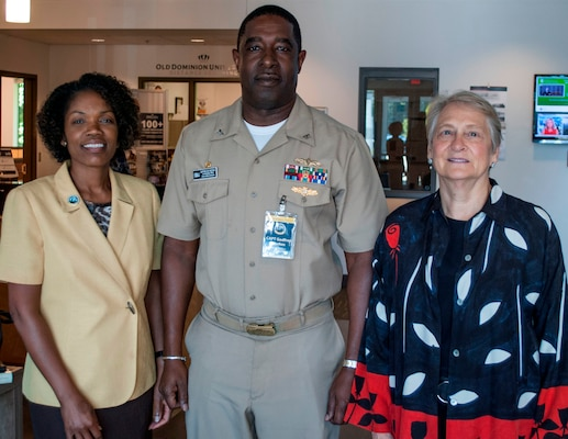 """IMAGE: KING GEORGE, Va. (Aug. 30, 2018) – Leadership in a Diverse Environment Training Event guest speakers are pictured with Capt. Godfrey 'Gus' Weekes, Naval Surface Warfare Center Dahlgren Division (NSWCDD) commanding officer, at the NSWCDD sponsored event. Stefanie Easter, director of Navy Staff for the Office of the Chief of Naval Operations, left, spoke to participants on how to """"Lead Where You Are in a Diverse Environment"""". Laura Linwood, secretary general of the Council of Women World Leaders, discussed """"Moving Beyond Diversity."""" The training event featured a wide spectrum of presentations and discussion panels focusing on the challenges and opportunities facing today's leadership."""