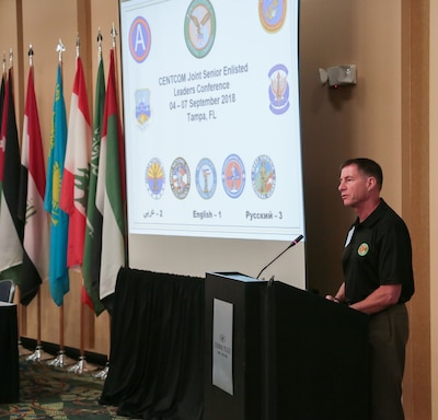 U.S. Army Command Sgt. Maj. William Thetford, U.S. Central Command's senior enlisted leader delivers welcomes attendees and delivers opening remarks during the CENTCOM Joint Senior Enlisted Leaders Conference in Tampa, Fla. Sept. 6, 2018. The purpose of the four-day U.S. Central Command hosted conference is to provide a forum for senior enlisted leaders to explore ways to empower and develop their non-commissioned officer ranks and to build a network of multi-national senior enlisted professionals. Senior enlisted leaders from CENTCOM's component commands, five National Guard units and representatives from eight partner nations. (U.S. Central Command Public Affairs photo by Tom Gagnier)