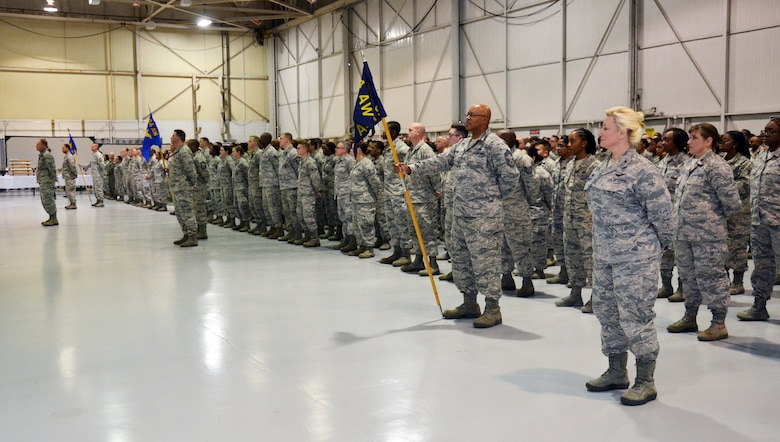 Airmen from the 94th Airlift Wing stand in formation during a change of command ceremony. (U.S. Air Force photo/Staff Sgt. Kelly Goonan)