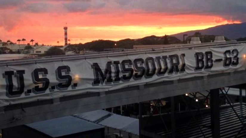 The USS Missouri Banner greets guests.