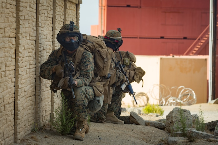 U.S. Marines with 2nd Battalion, 7th Marine Regiment, provide security during a patrol for the 1st Marine Division (MARDIV) Super Squad Competition at Marine Corps Base Camp Pendleton, California, Aug. 29, 2018.