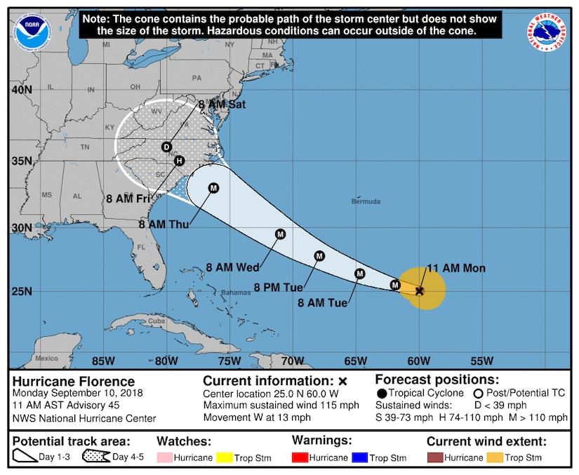 Projected path of Hurricane Florence as of Monday, Sept. 10, 2018, at 11 a.m.