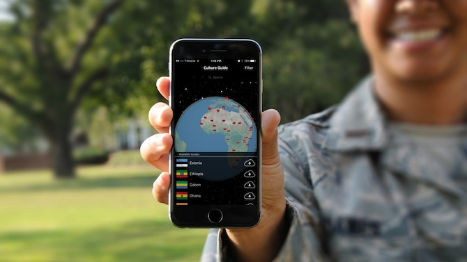 The Wall Street Journal recently recognized the Air Force Culture and Language Center's mobile Expeditionary Culture Field Guide as being one of six 'must-have' apps for business travelers. The free app is available for Android and iPhone devices. (Courtesy photo)