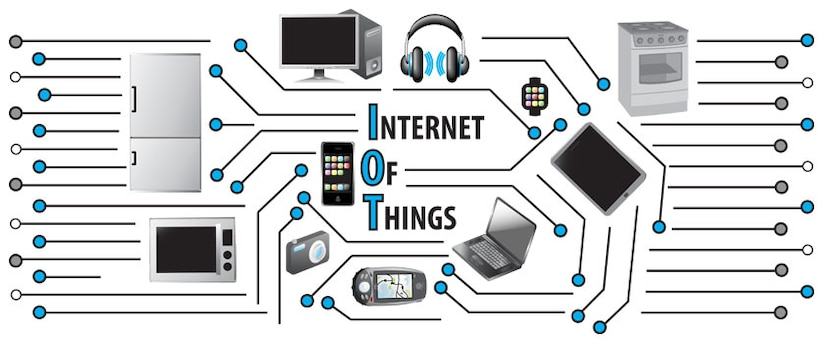Illustration of representation of circuit board with pieces of technology and appliances surrounding the words Internet of Things