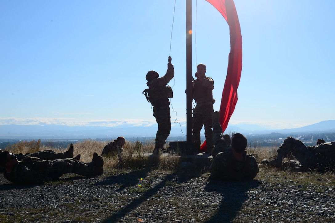 Every morning during training for the 2018 Defender Challenge, Airmen were tasked to perform a 2-mile run to hoist flags, indicating ranges will be in use