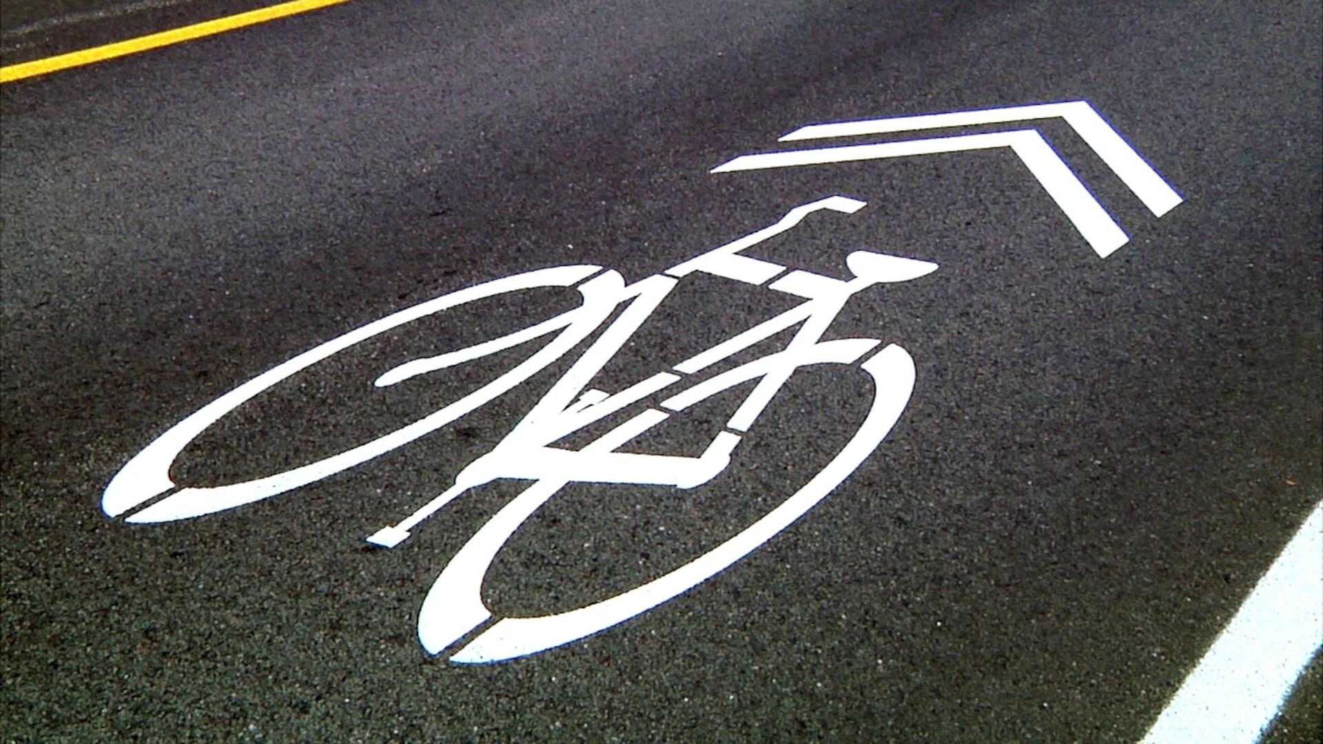 NSA made the bridge bike-friendly by adding 'sharrows.'