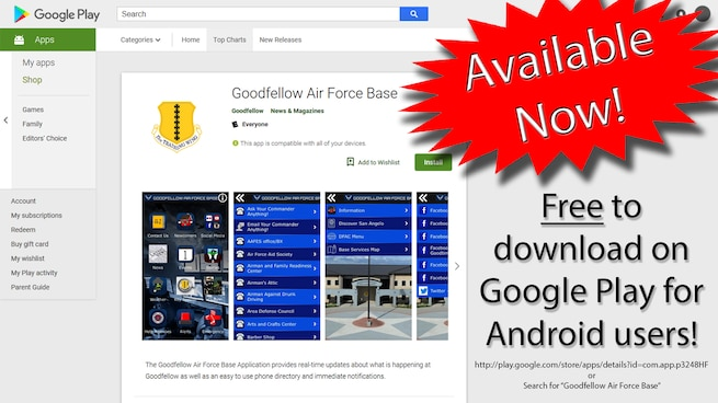 The Goodfellow Air Force Base Application provides real-time  updates about what is happening at Goodfellow as well as an easy to use phone directory and immediate notifications.