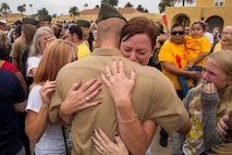 The new Marines of Echo Company, 2nd Recruit Training Battalion, reunite with their loved ones during Family Day at Marine Corps Recruit Depot San Diego, Sept 7